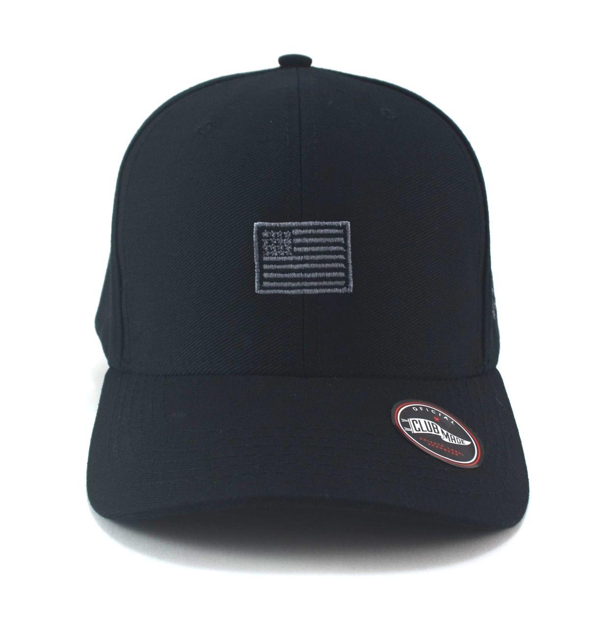 Boné Preto Mini Flag Black Estados Unidos Aba Curva Strapback