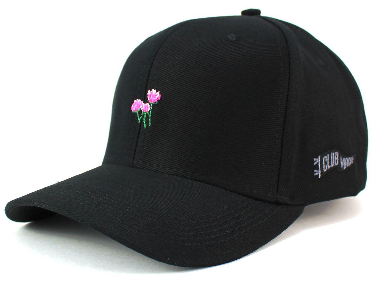 6450138a7c Boné Preto Mini Flores Aba Curva Masculino Feminino - Regulagem por Fita e  Fivela