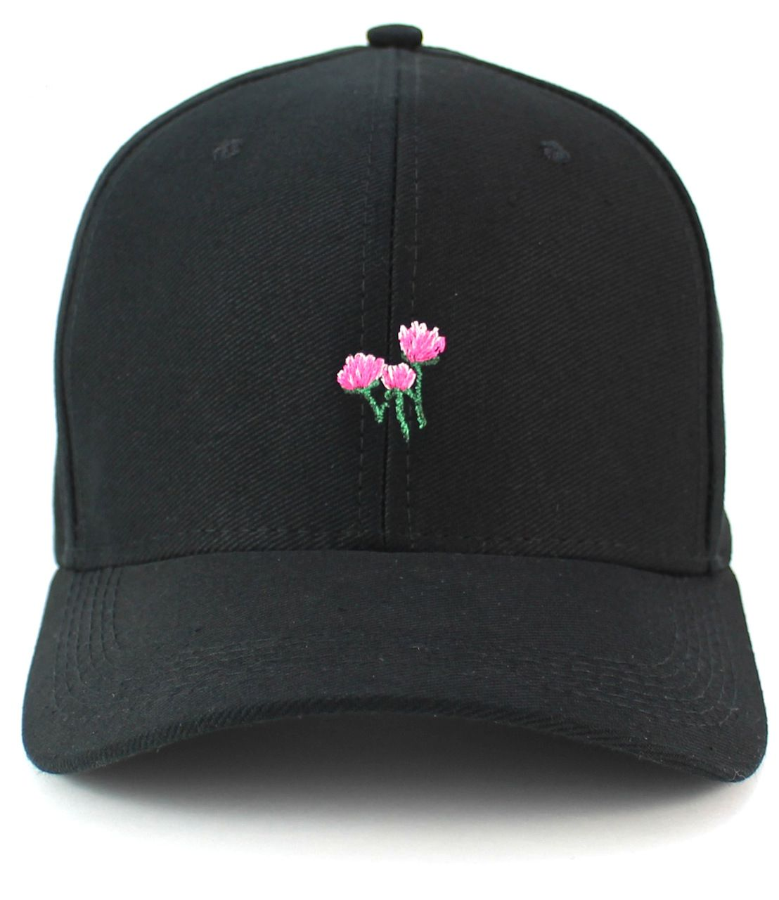 Boné Preto Mini Flores Aba Curva Masculino Feminino - Regulagem por Fita e Fivela