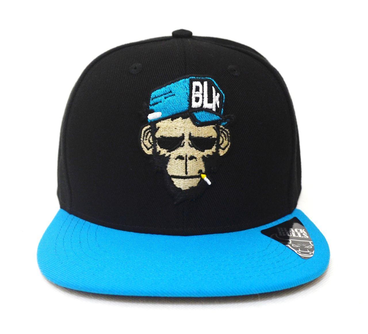68151bf78f Boné Smoke Monkey Aba Reta Preto e Azul - Ajuste de Tamanho Snapback - Bonés  da ...