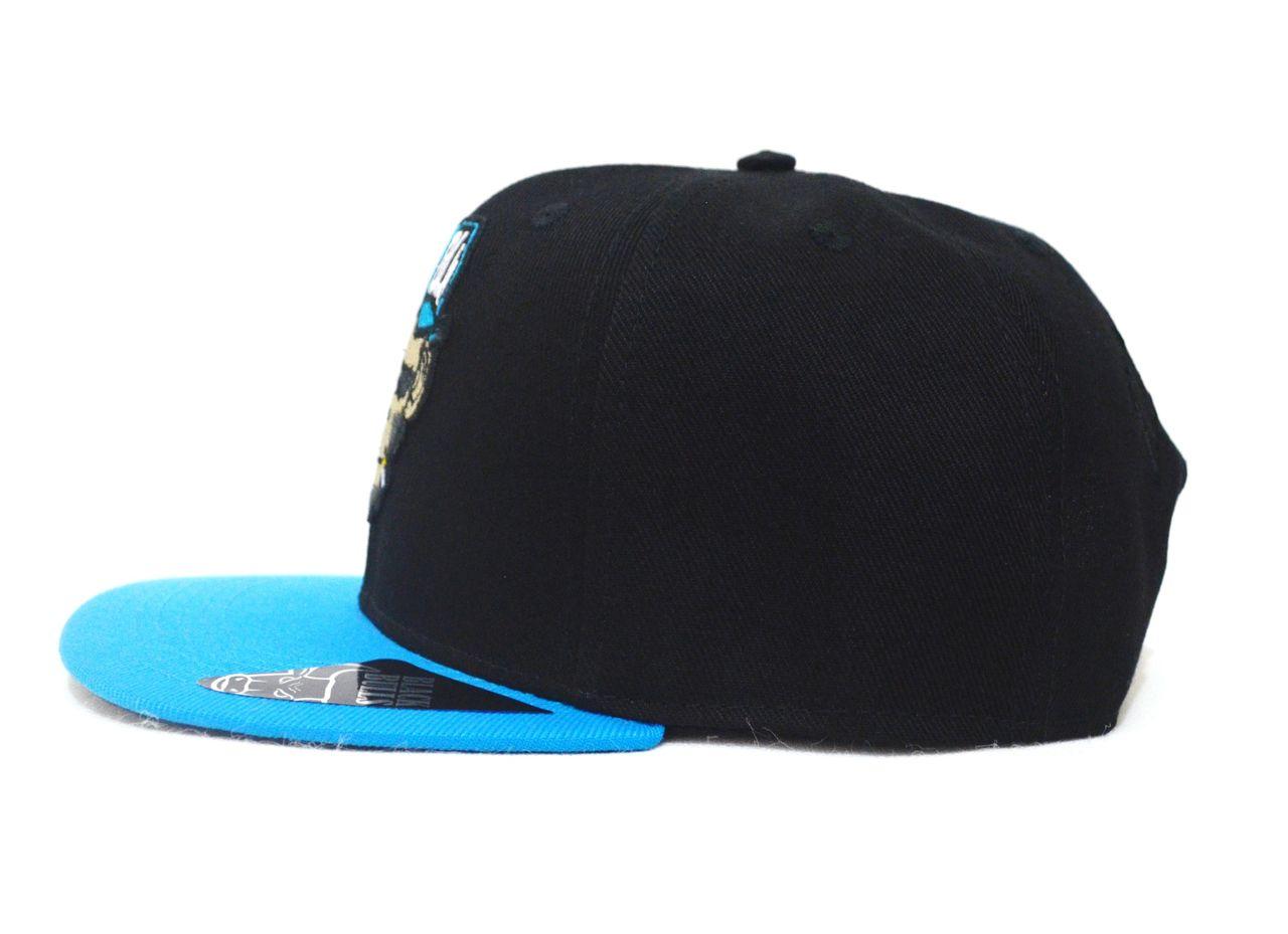 Boné Smoke Monkey Aba Reta Preto e Azul - Ajuste de Tamanho Snapback