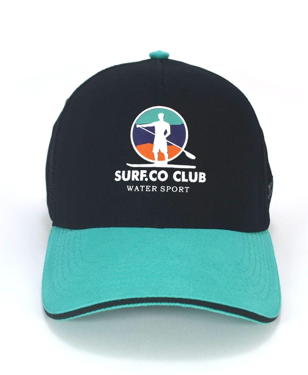 Boné Surf Preto e Turquesa Aba Curva MINI Trucker Masculino Feminino - Club Made