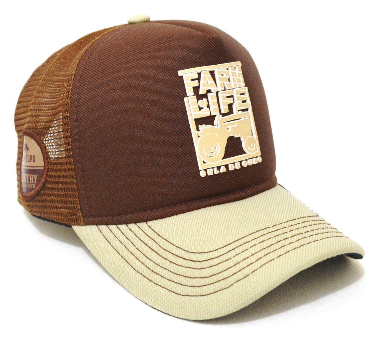 Boné Trator Country Farm Life Aba Curva Trucker Tela - Regulagem de Tamanho  Snapback 33fe2af71e6