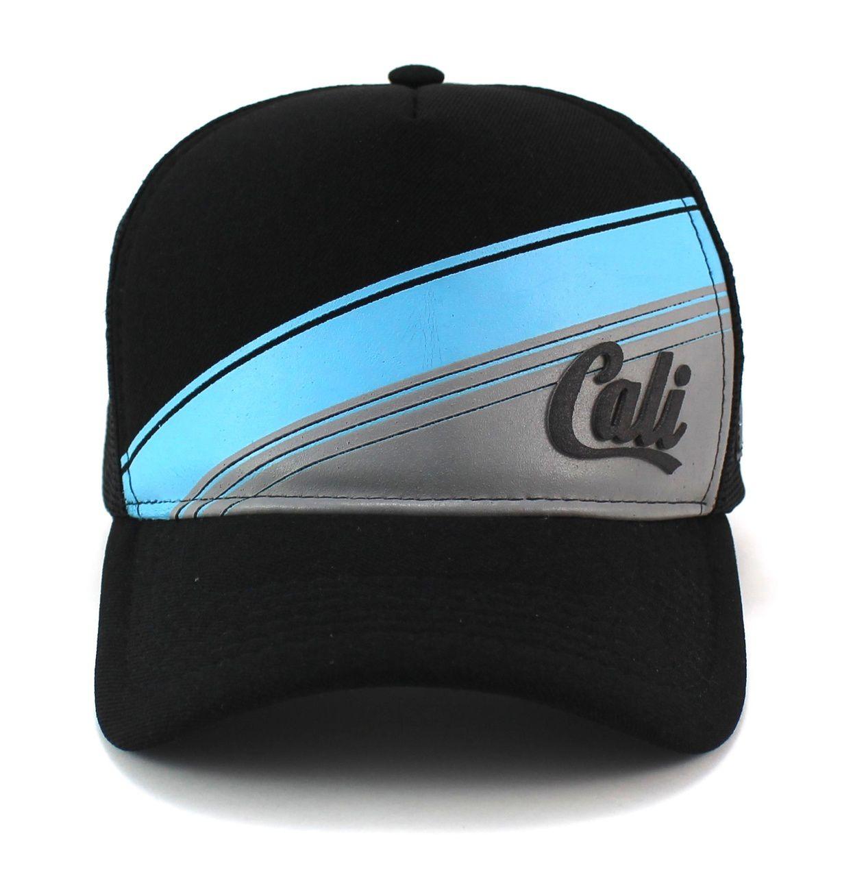 Boné Trucker Classic Hats Preto e Azul Cali Unisex com Regulagem de Tamanho Snapback