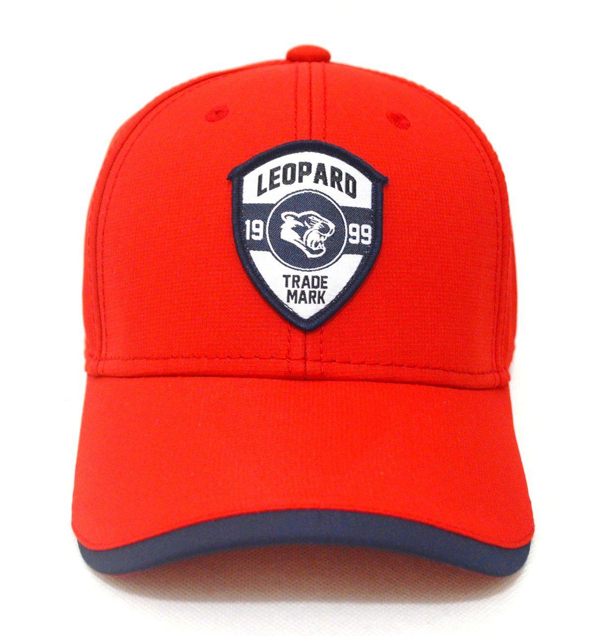 Boné Vermelho Aba Curva Leopard Sport - Super Leve