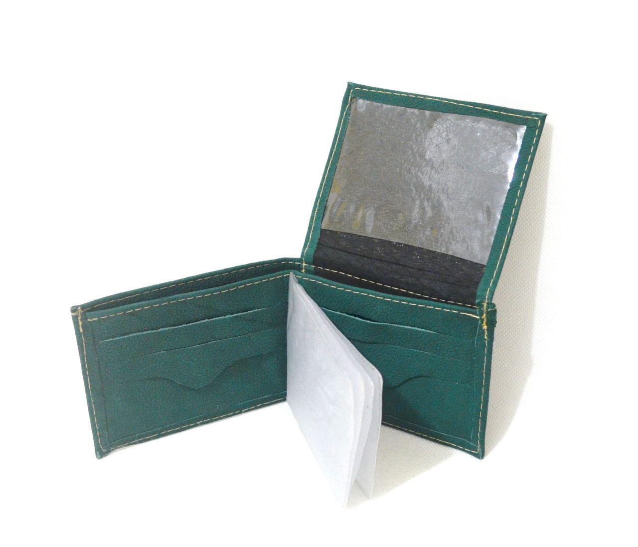 Carteira de Couro Legítimo Verde Pequena Fina Slim