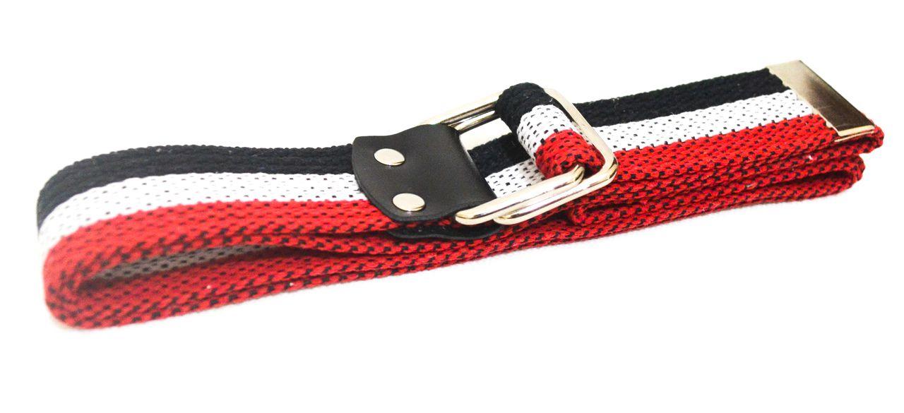 Cinto de Lona Tricolor Preto Vermelho Branco com Fivela Metálica Deslizante G