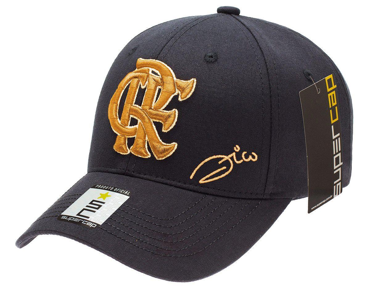 Boné Flamengo Zico CRF Dourado Aba Curva