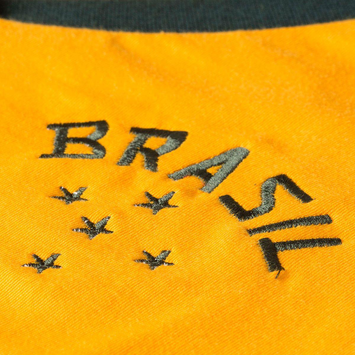 Camisa Baby Look Retrô Gol Seleção Brasil Torcedor Cotton Basic