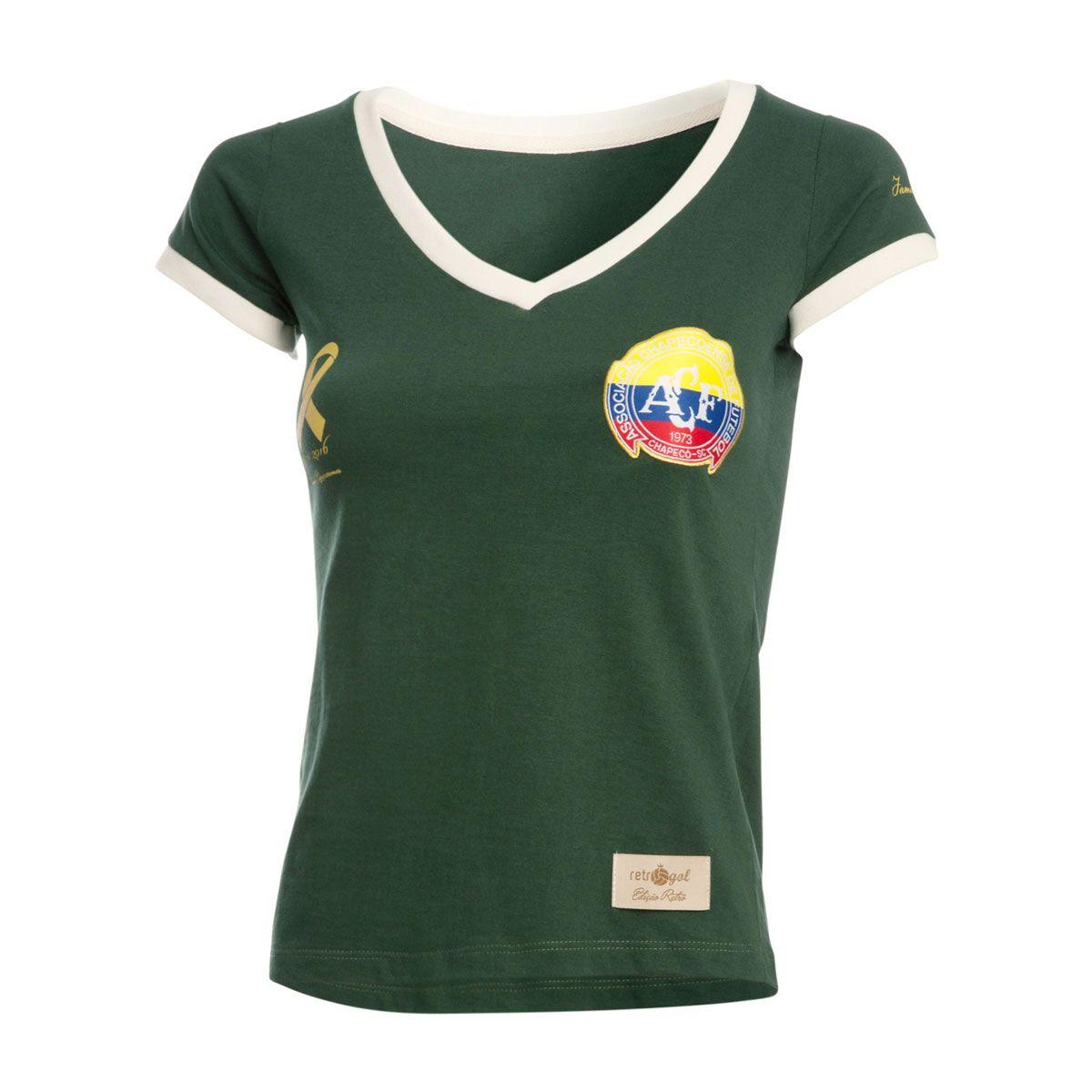 Camisa Baby Look Solidária Retrô Gol Chapecoense Torcedor