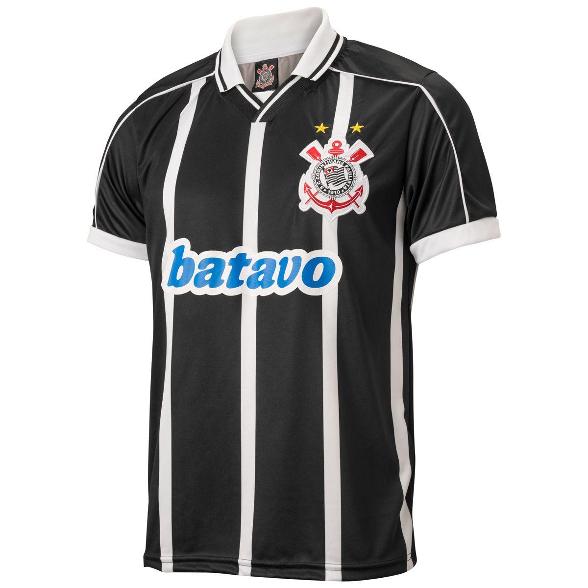 Camisa Corinthians Retrô Brasileiro 1999 Uniforme II Masculina