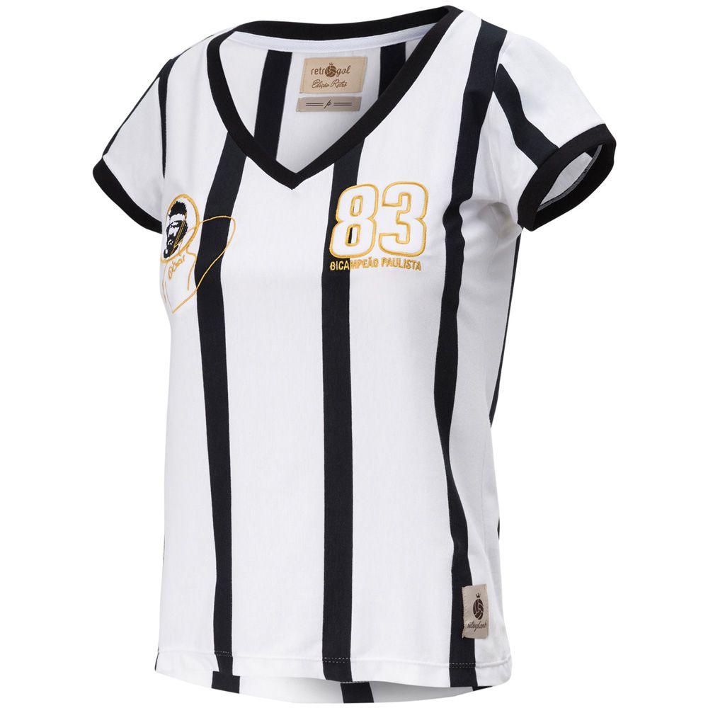 Camisa Feminina Baby Look Retrô Gol Away Sócrates Ex-Corinthians