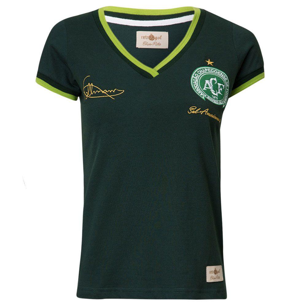 Camisa Feminina Baby Look Retrô Gol Chapecoense Follmann Edição Limitada
