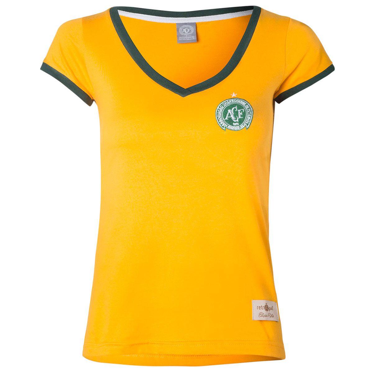 Camisa Feminina Baby Look Retrô Gol Chapecoense Seleção Brasil Torcedor
