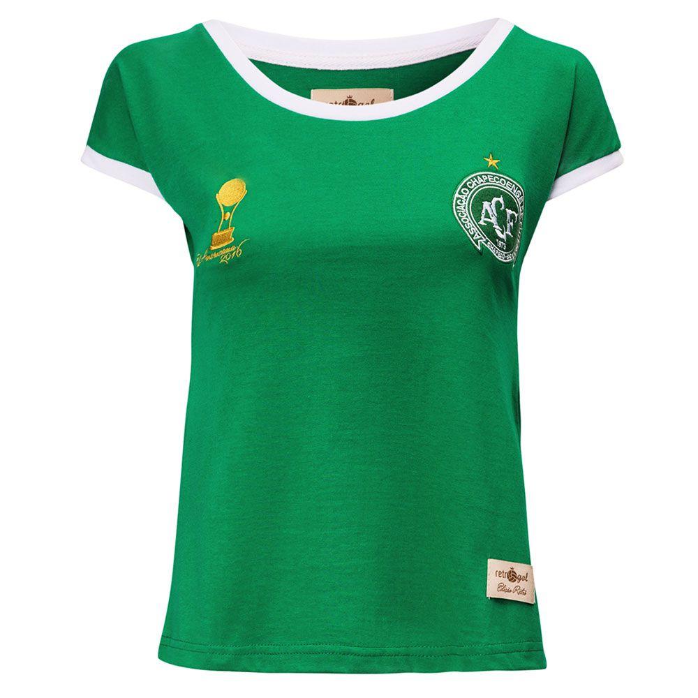 Camisa Feminina Baby Look Retrô Gol Chapecoense Sulamericana 2016