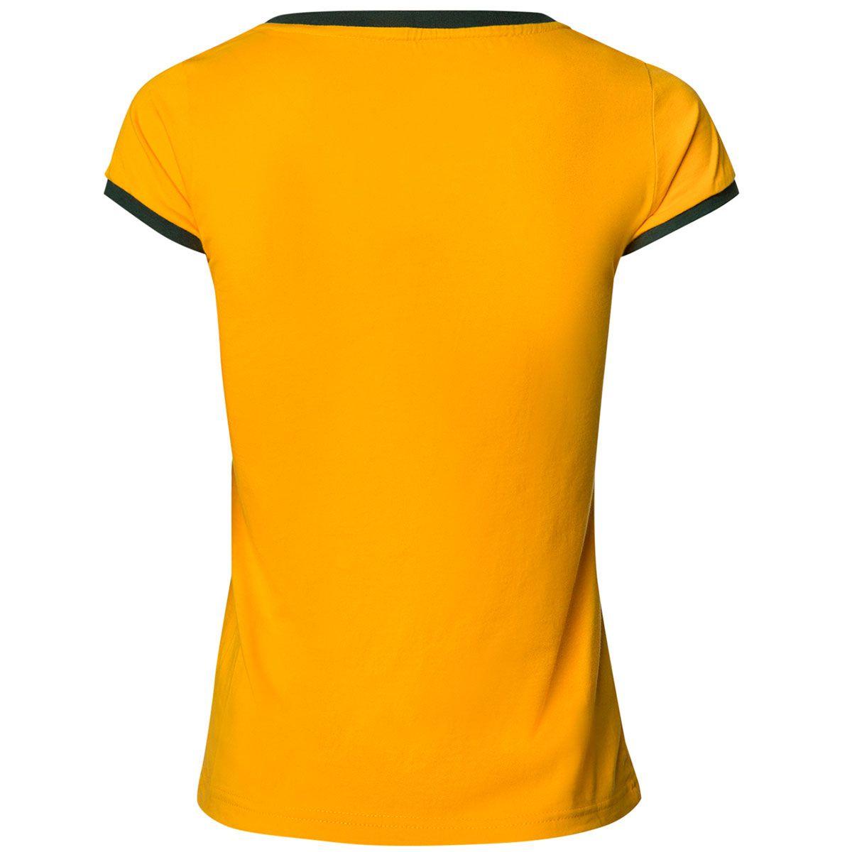 Camisa Feminina Baby Look Retrô Gol Fortaleza Seleção Brasil Torcedor