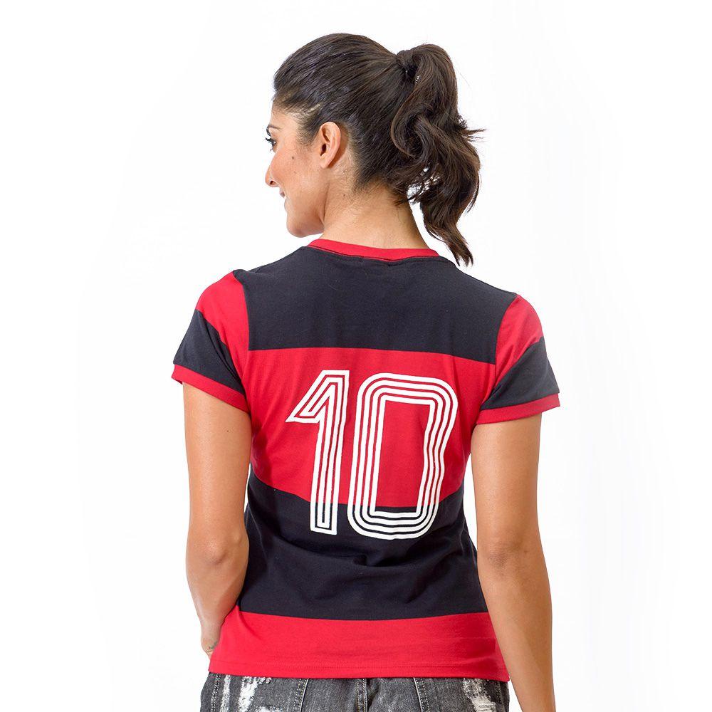 Camisa Flamengo Feminina Retrô Baby Look 1981 Zico Libertadores