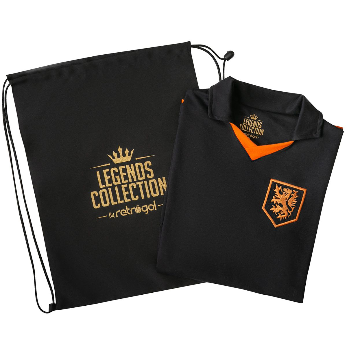 Camisa Holanda Retrô Legends Collection Preta + Sacola