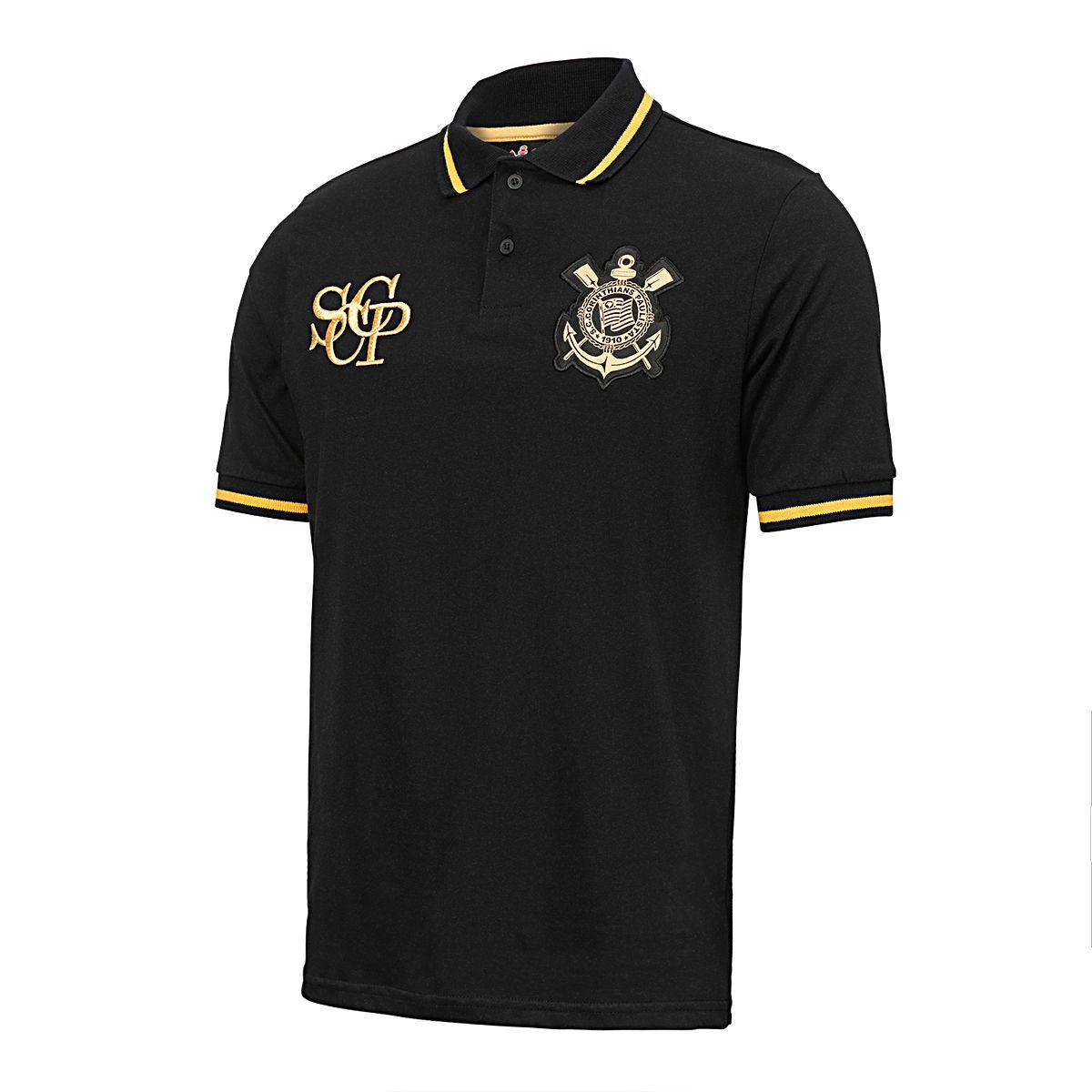 Camisa Polo Retrô Corinthians Ouro Masculina