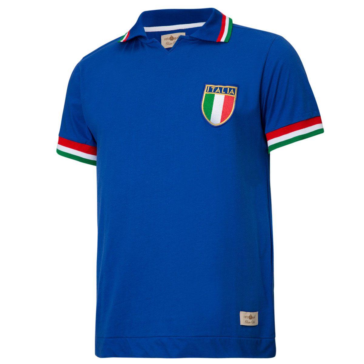 Camisa Polo Retrô Gol Réplica Seleção Itália 1982 Torcedor