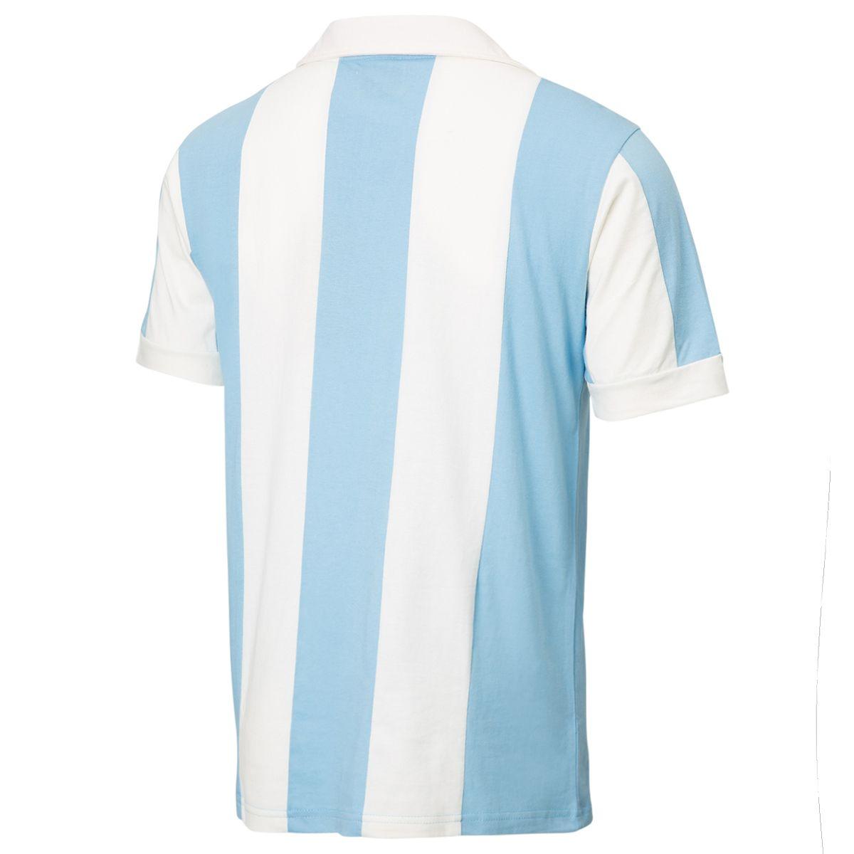 Camisa Polo Retrô Gol Seleção Argentina Listrada Torcedor