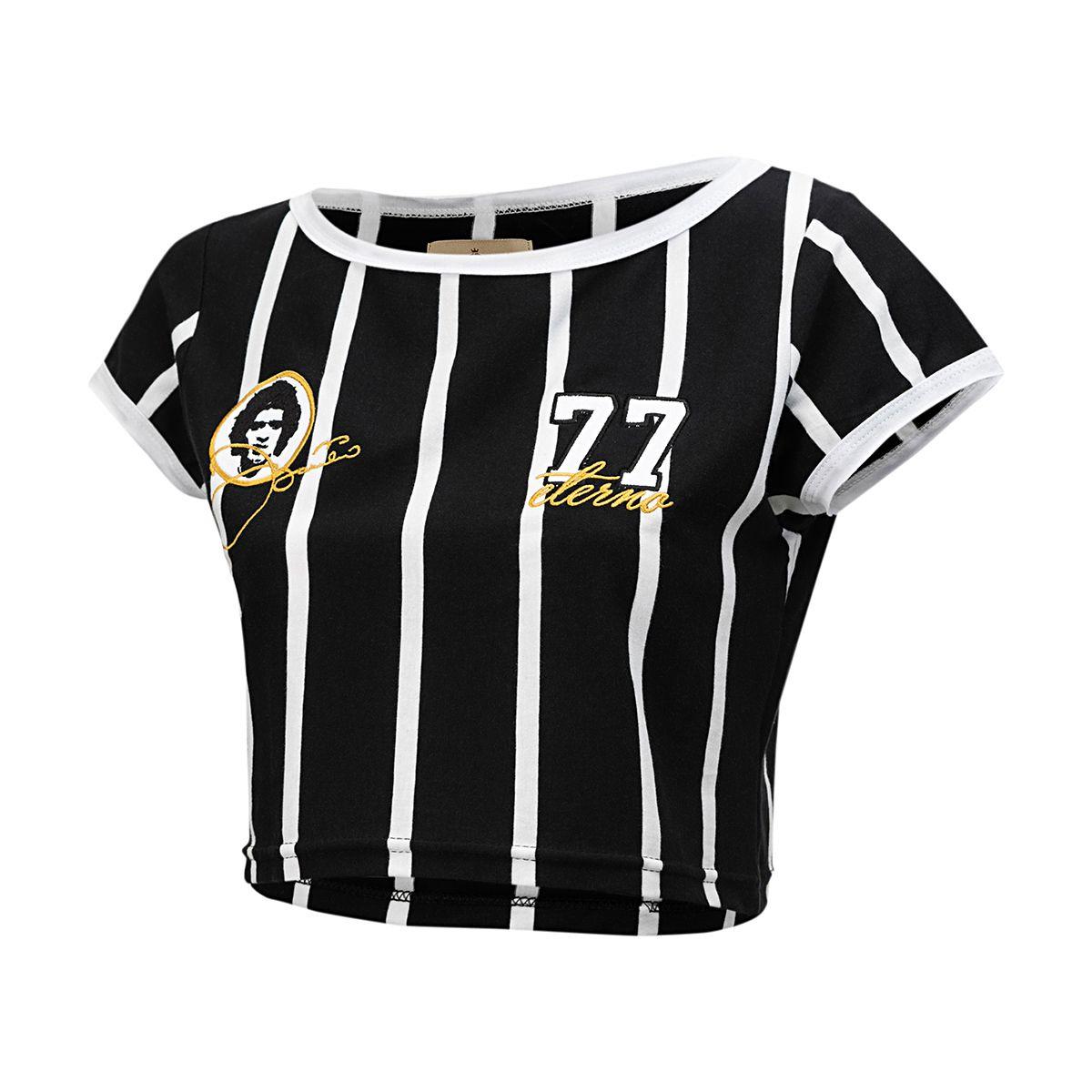 Camisa Retrô Gol Cropped Corinthians Basílio Feminina