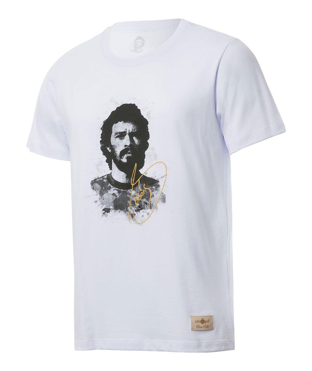 Camisa Retrô Gol Sócrates Ex - Corinthians Rosto Branca Torcedor