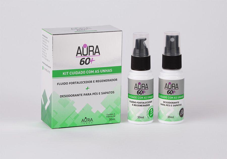 Fluído Fortalecedor e Regenerador de unhas e desodorante para os pés Aura 60+