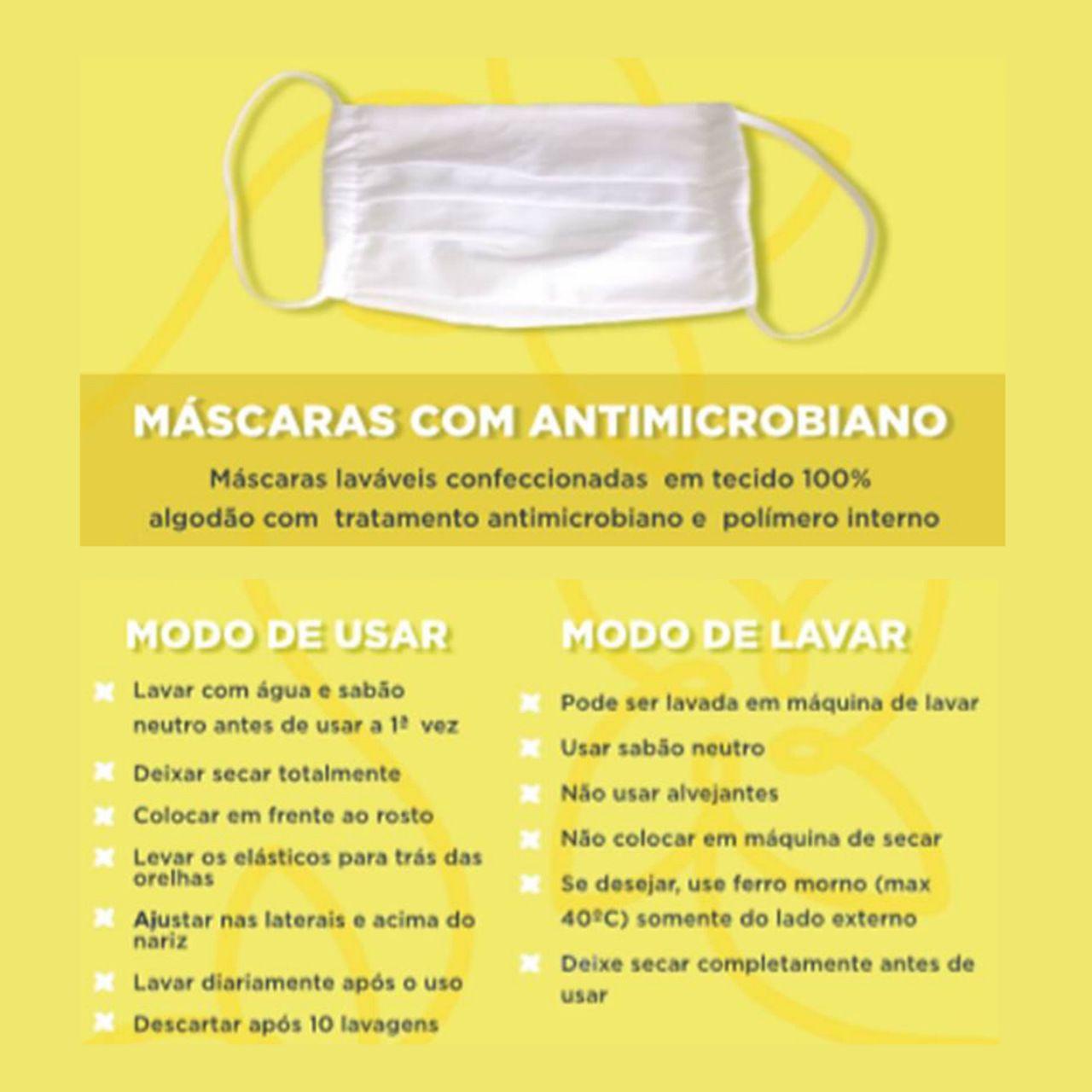 Kit 5 Máscara de Algodão com Polímero Interno e Tratamento Antimicrobiano