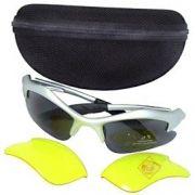 Óculos Ciclismo Armação Amarela com 2 jogos lentes (Escuras e Noturnas)
