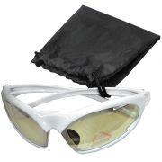 Oculos Ciclismo Armação Branca com Lentes Transparentes