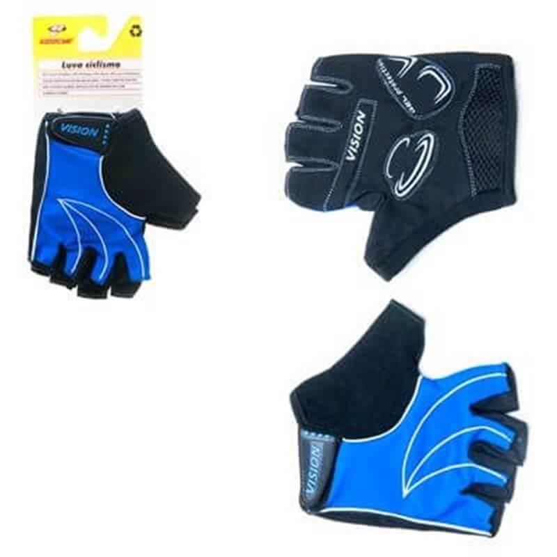 LUVA MTB dedo Aberto Azul/Preto/branco - Ventilada, Atoalhado GEL PALMA - VISION