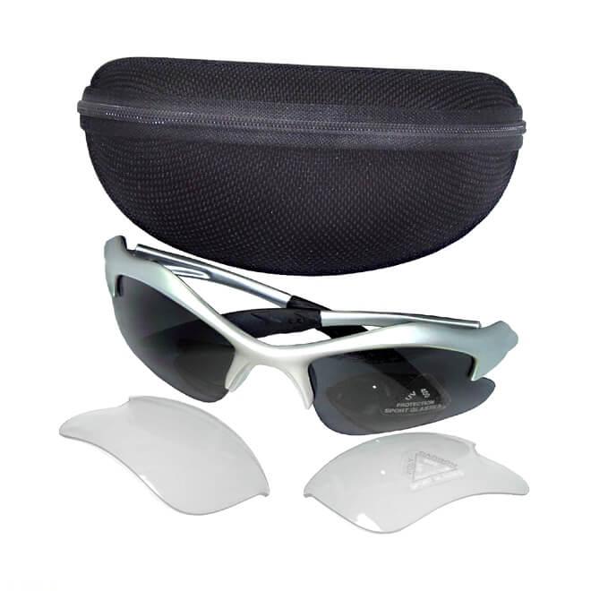 Óculos Ciclismo Armação Prata Met. 2 Jogos Lentes (Escuras e Transparentes)