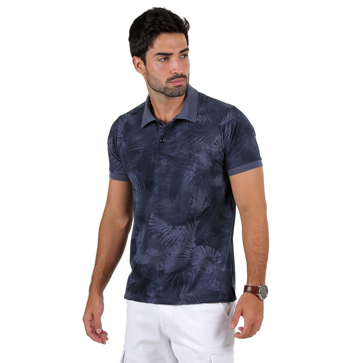 Camisa Polo AES 1975 Cinza Chumbo Floral