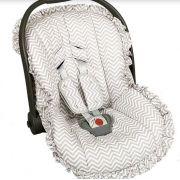 Capa Para Bebê Conforto Estampado e Protetor de Berço Chevron Cinza - Batistela Baby Ref 02063