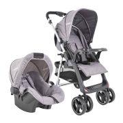 conjunto carrinho de bebê com bebê conforto Zap Melange cinza 412mg Kiddo