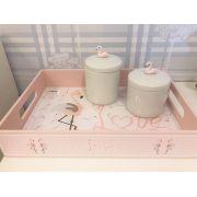 Kit Higiene Tema Flamingo - Divino Talento Ref 9105