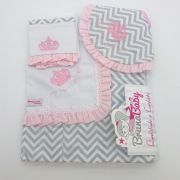 Kit Manta Coroa Real Rosa - Bruna Baby Ref
