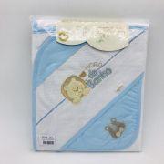 Kit Toalha de Banho Toalha de Boca Babador  Peças Azul Bebê - Catavento Ref