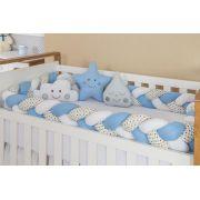 Kit Trança Azul e Branco Com Detalhes de Bolinhas - Miguel Baby