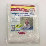 Toalha de Banho Capuz Forrada Fralda Branco - Musky Baby Ref