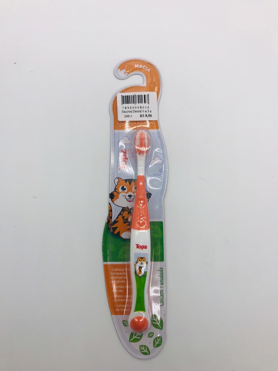 Escova Dental 0 a 3 Anos Tigre - Topz