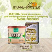 COMBO 5 - IMMUNE BOOSTER (MATCHÁ - Blend Cúrcuma+Café Verde+Guaraná+Pimenta+Gengibre) + Omega Própolis - Sabor Frutas Amarelas