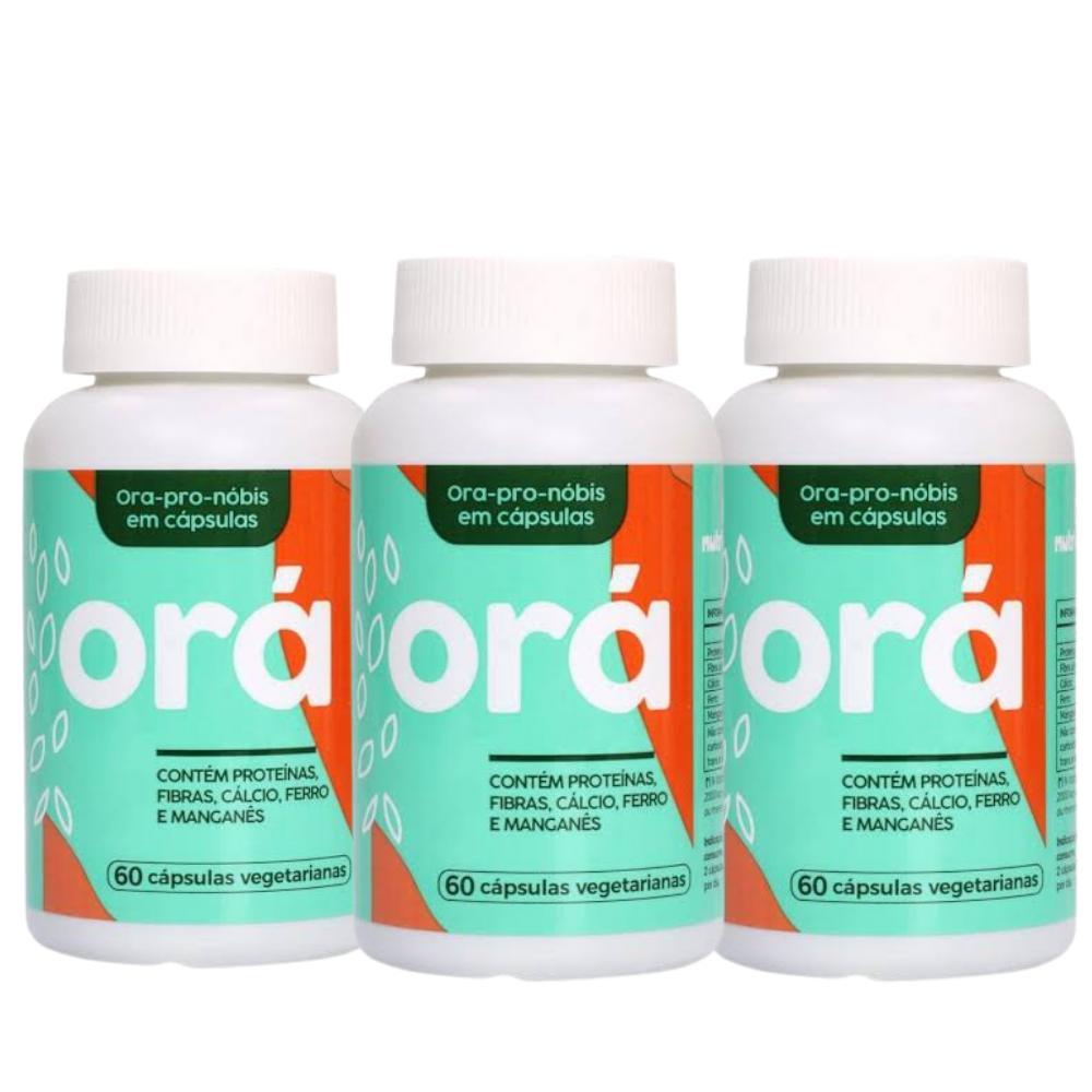 3 Ora-Pro-Nobis - Fonte de Proteínas, Vitaminas, Magnésio, Calcio, Zinco - 60 caps