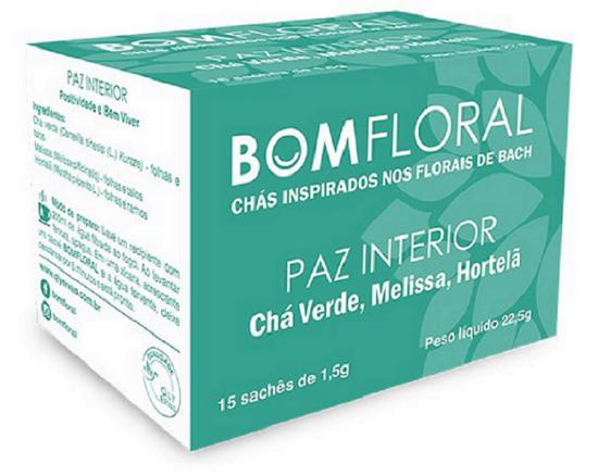 BOM FLORAL  CHÁ PAZ INTERIOR - INSPIRA POSITIVIDADE E BEM VIVER - 15 SACHES