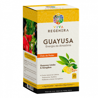 CHÁ GUAYUSA LIMAO & GENGIBRE-  VIVA REGENERA - 25 SACHES