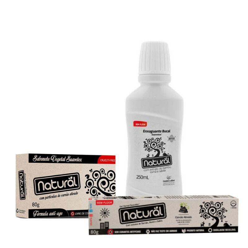 Combo Beleza Natural Sabonete + Gel Dental + Enxaguante Bucal Carvão Ativado