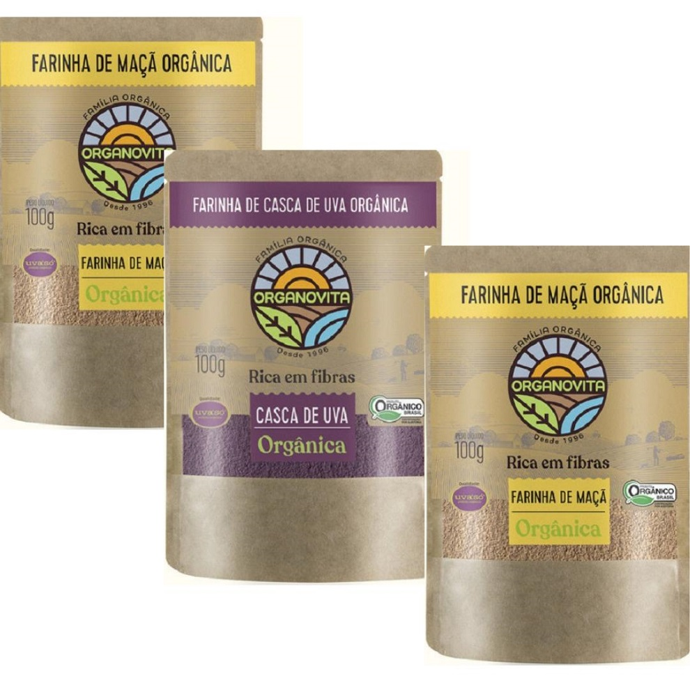 Combo Funcional Farinhas Orgânicas: Maça, Casca De Uva, Semente De Uva