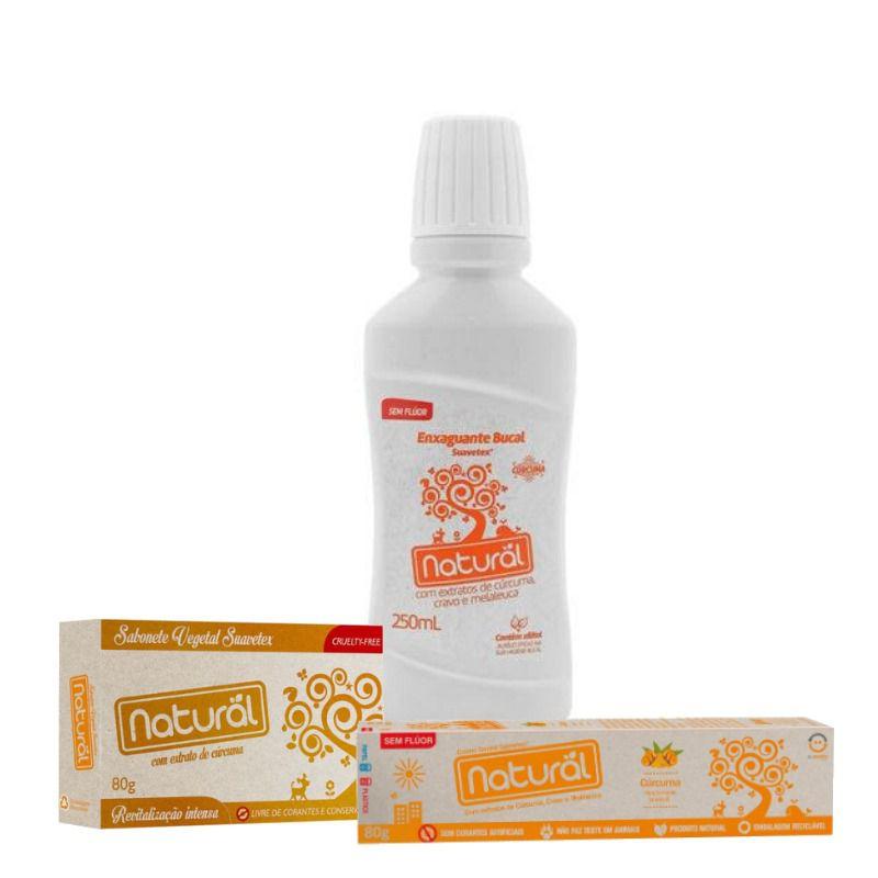 Combo Saúde e Beleza - Sabonete + Creme Dental + Enxaguante Bucal CÚRCUMA