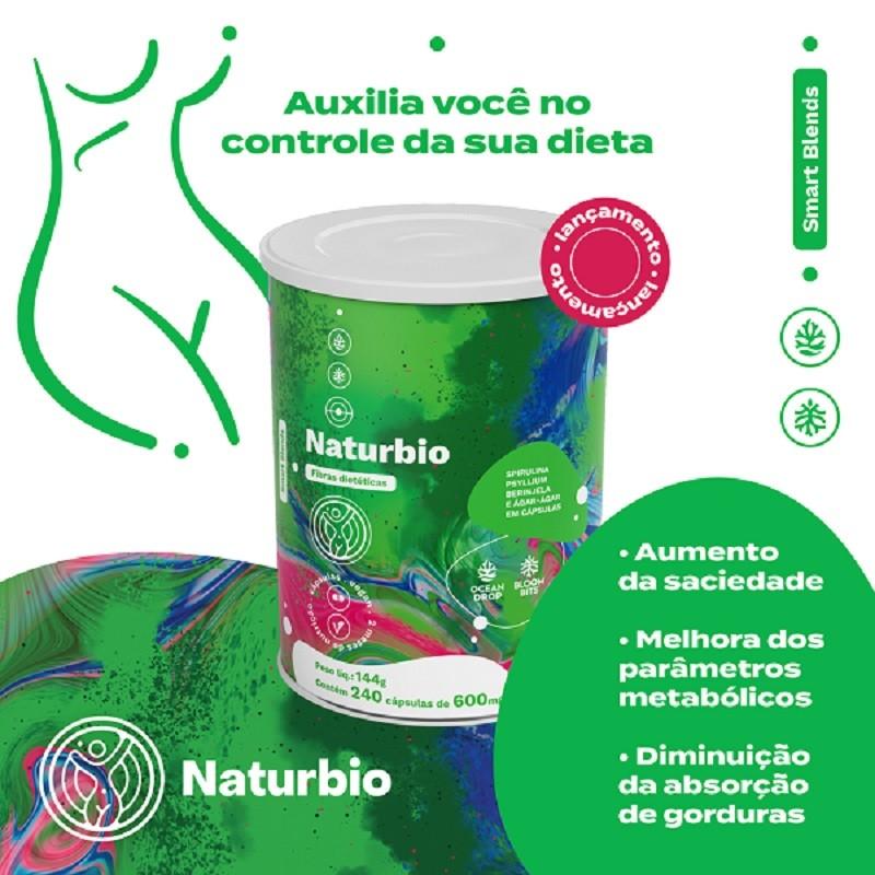 NATURBIO - EMAGRECIMENTO SAUDÁVEL - BLEND SPIRULINA + PSYLLIUM + AGAR-AGAR+ BERINGELA  (240 CAPS)